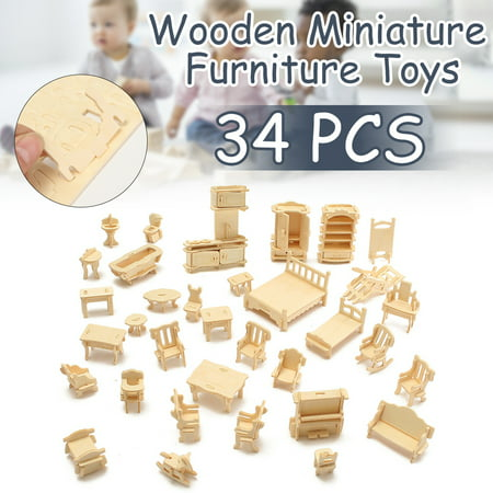 34 PCS Kids Toys 3D DIY Wooden Miniature Furniture Model Dollhouse For Children Boys Girls Christmas