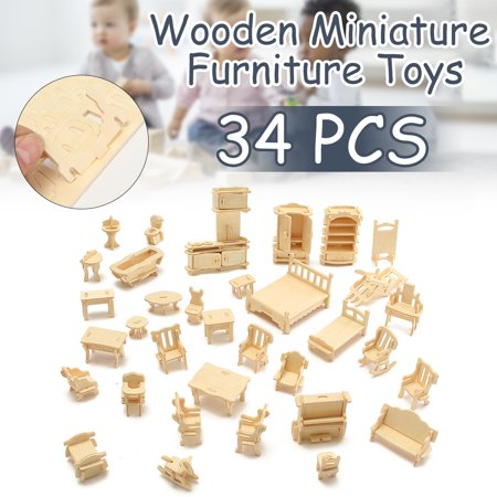 - 34 PCS Kids Toys 3D DIY Wooden Miniature Furniture Model Dollhouse For Children Boys Girls Christmas Gift