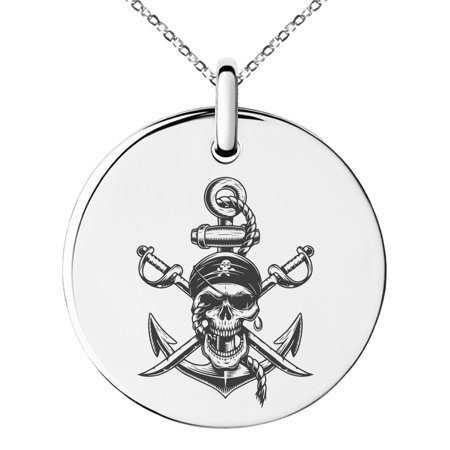 Pirate Swords Pendant (Stainless Steel Pirate Skull Anchor & Cross Swords Engraved Small Medallion Circle Charm Pendant Necklace)