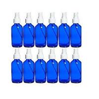 12 - 4oz Cobalt Blue Boston Round Glass with White Fine Mist Sprayer