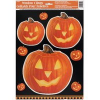 Carved Pumpkin Halloween Window Cling Sheet, 3 Decals Included