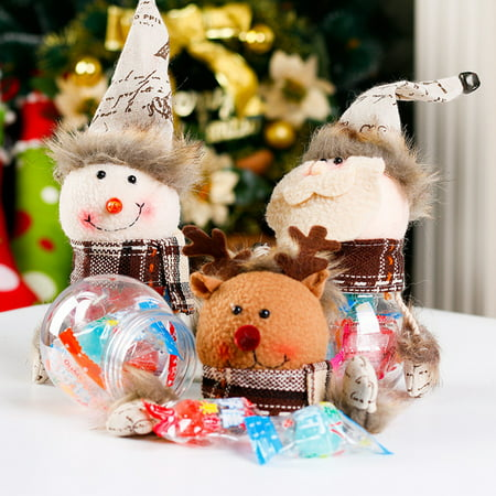 Heepo Christmas Santa Claus Snowman Candy Container Jar Box Holiday Decoration Gift