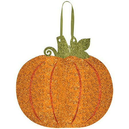 Amscan Welcome Fall Thanksgiving Party Glitter Pumpkin Hanging Decoration, Multicolor, 11 13