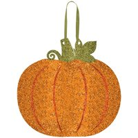 """Amscan Welcome Fall Thanksgiving Party Glitter Pumpkin Hanging Decoration, Multicolor, 11 13"""" x 11 12"""""""