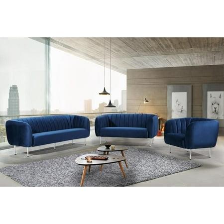 Navy Velvet Chrome Steel Legs Sofa Loveseat & Chair Meridian Furniture Willow
