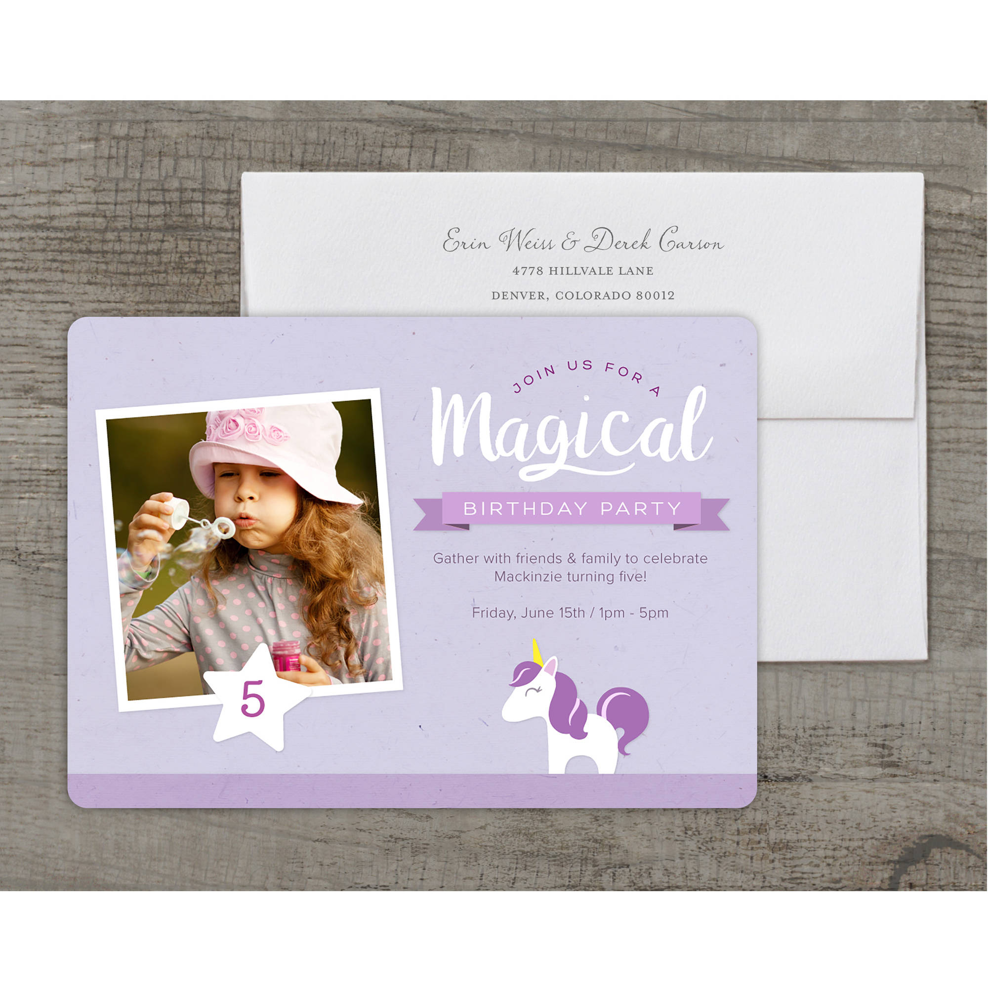 Unicorn Party Deluxe Birthday Young Girl Invitation