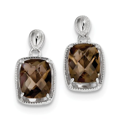 925 Sterling Silver Rhodium plated Smoky Quartz Earrings