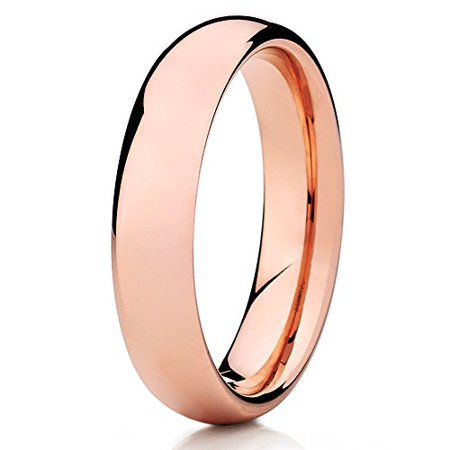 Silly Kings 5mm Rose Gold Tungsten Carbide Wedding Band Dome Shape Ring Comfort Fit Mens Shape Glass Dome Ring