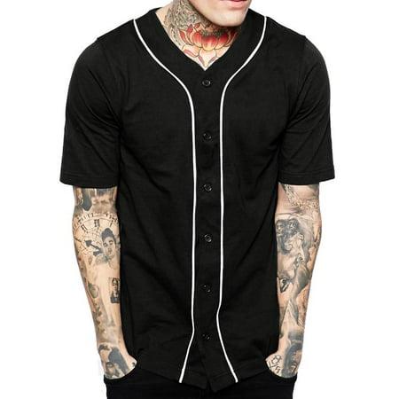 Mens Baseball Jersey Button Down Athletic Sport Uniform (Mens Baseball Stirrups)