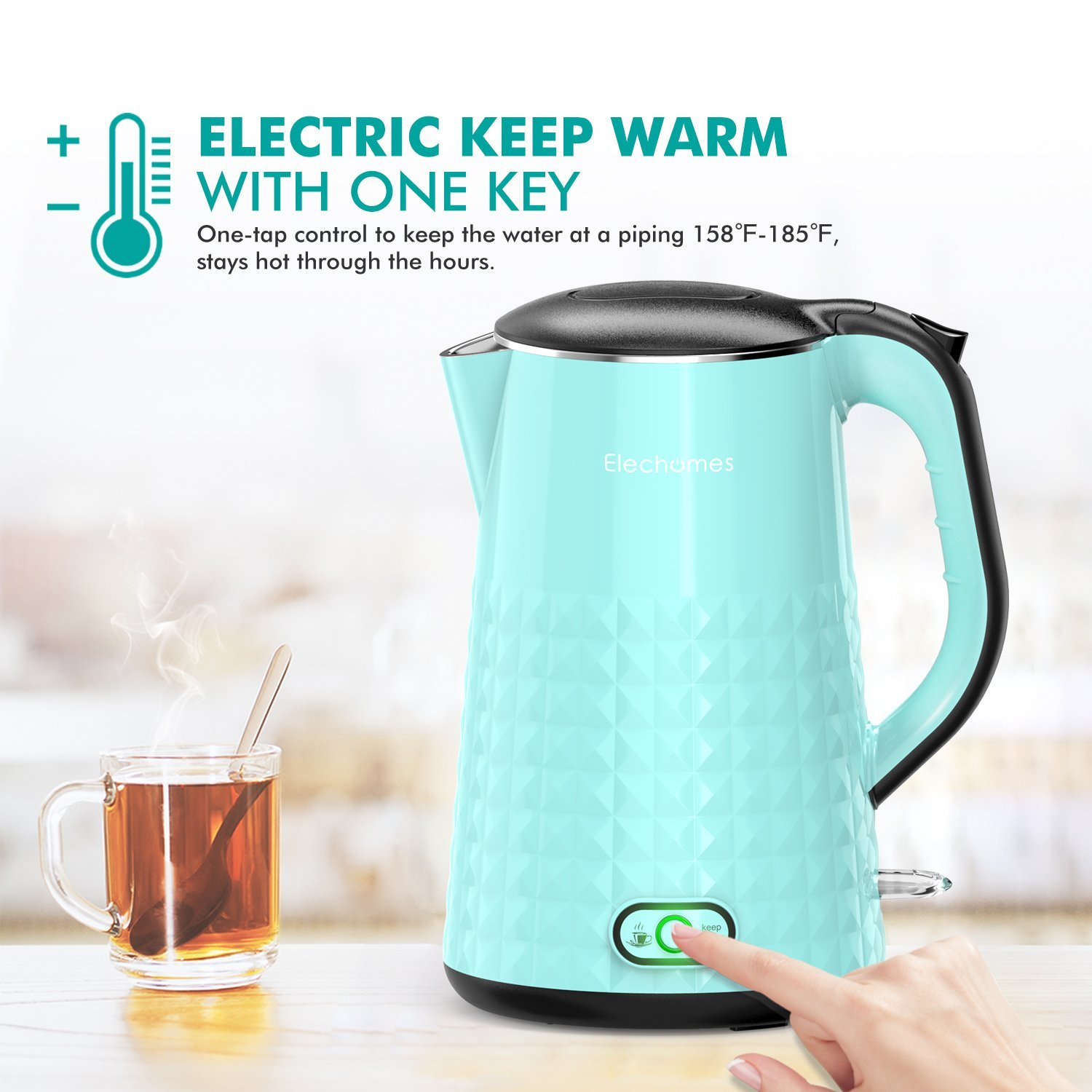 Elechomes CK1701 Electric Kettle Water Boiling Hot Pot Double Layer ...