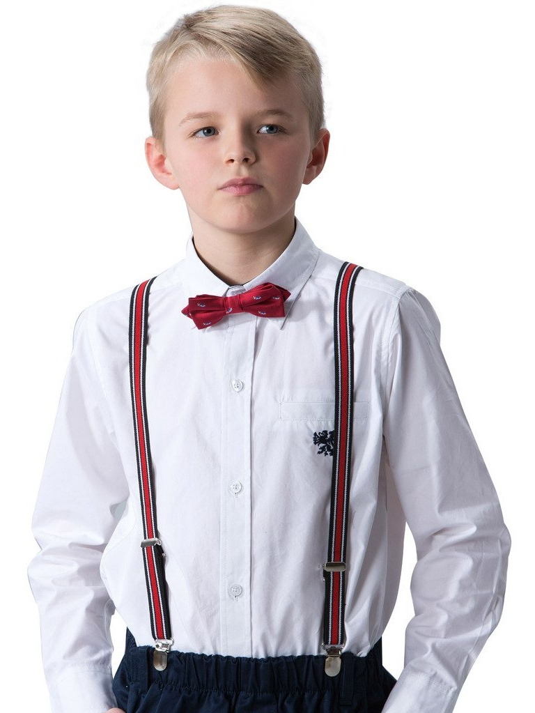 Leo&Lily Big Boys White Cotton England Classic Woven Shirts With Damier Under Lap