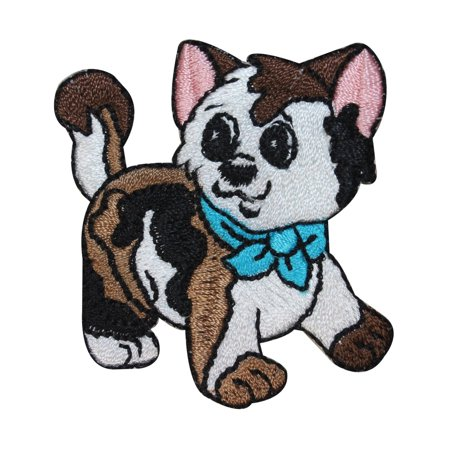 ID 2959 Cute Calico Kitten Patch Baby Cat Bow Pet Embroidered Iron On -