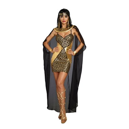 Dreamgirl Women's Glamourous Metallic Cleopatra Costume Minidress - Homemade Cleopatra Costume