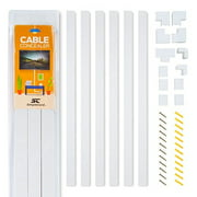 Cable Concealer On-Wall Cord Cover Raceway Kit - Cable Management System to Hide Cables, Cords Wires - Cord Organizer TVs Computers at Home in The Office