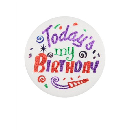 Club Pack of 6 Today's My Birthday Satin Decorative Button 2