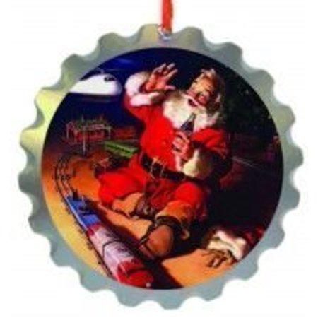 Coca Cola Tree Decoration - Wooden Bottle Top Santa & Train - Licensed  Product, Cola Santa bottle cap ornament measures 3 inches diameter in size   By