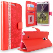 Galaxy Note 4 Case, Cellularvilla [Diamond Jewel] Embossed Flower Design Premium PU Leather Wallet Case [Card Slots] Flip Folio Stand Cover For Samsung Galaxy Note 4 SM-N910S N910C