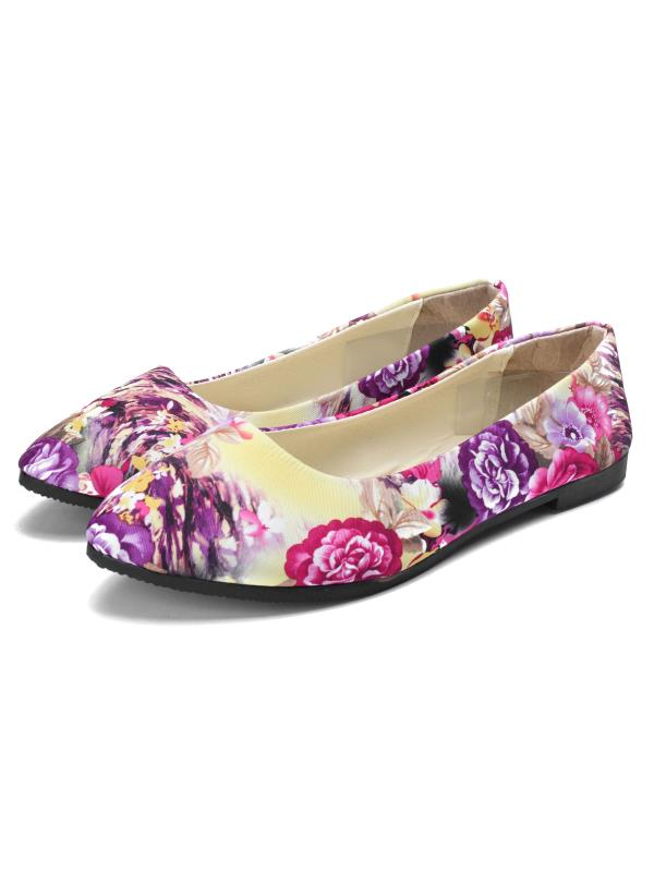 Womens Ballet Casual Flats Shoes Loafers Floral Pointed Toe Shoes Outdoor Boat Sneaker Size 9