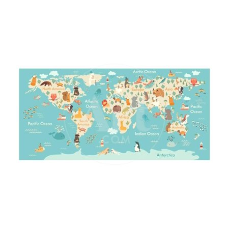 Animals World Map for Children, Kids. Animals Poster. Continent Animals, Sea Life. South America, Turquoise Teal Nursery Baby Room Artwork Print Wall Art By Rimma Z
