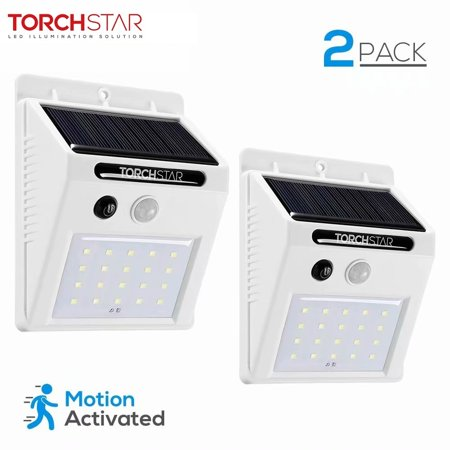 TORCHSTAR 20 LED 320lm Outdoor LED Solar Motion Sensor Lights, Wireless Outdoor Wall Lights, White, Pack of 2 ()