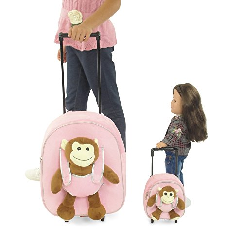 18 Inch Doll Rolling Luggage | Child & Doll Matching Backpacks w Trolleys | Fits American... by Emily Rose Doll Clothes