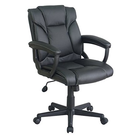 Office Factor Mid Back Black PU Leather Managers Desk Task Computer Office Chair Lumbar Supoort Contrast Stitching