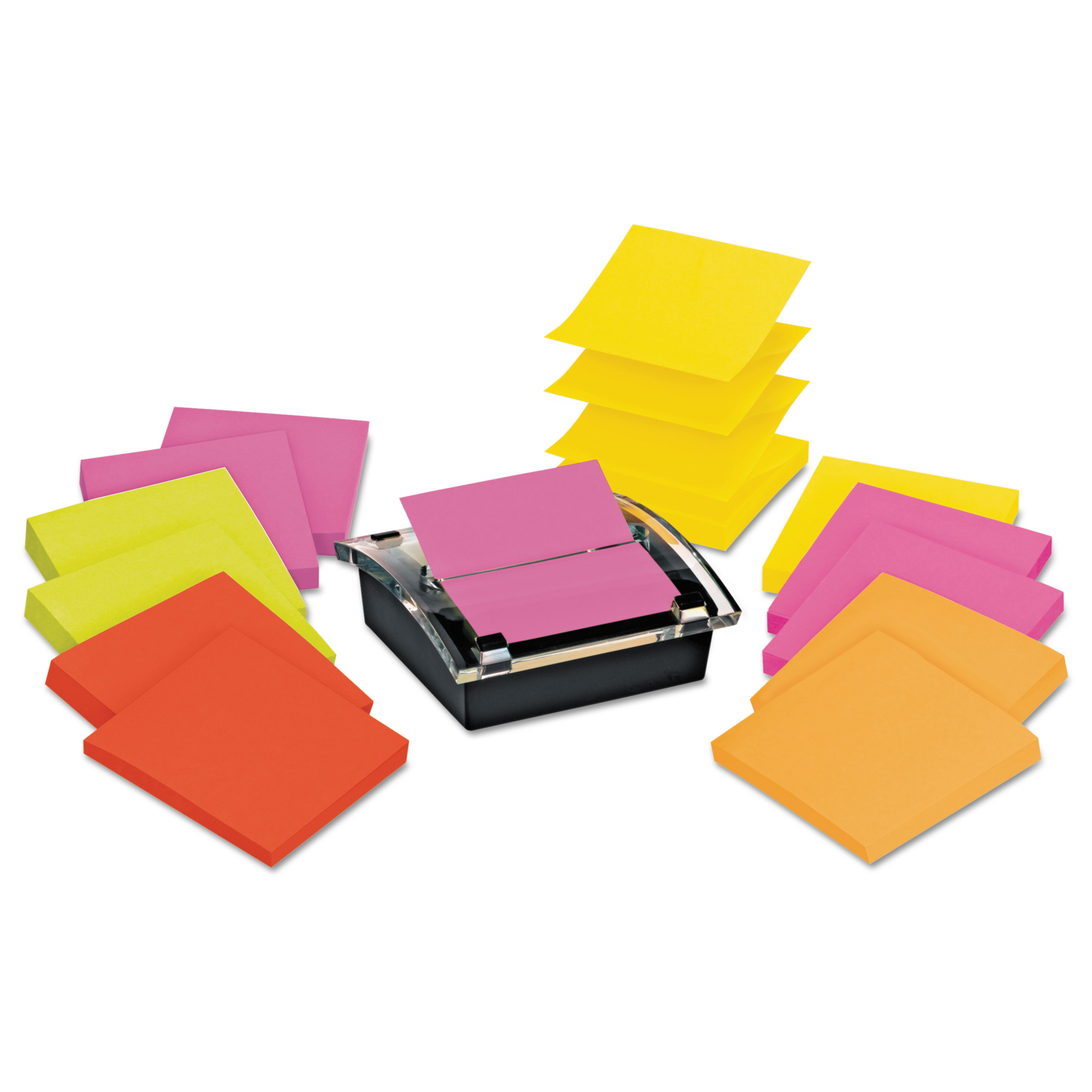 Post-it Note Dispenser Value Pack, Black Dispenser plus 12 Pads Super Sticky Notes, Rio de Janeiro Collection