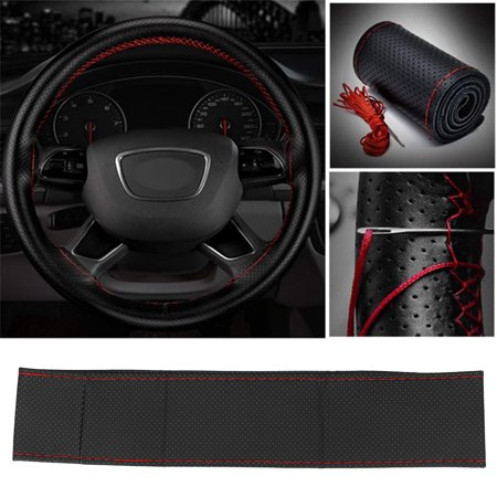 Micro Wheel - 38cm Microfiber Soft PU Leather Car Steering Wheel Cover DIY With Needles and Thread Braid On The Steering Wheel Protector Car Decoration Accessories Black + Red