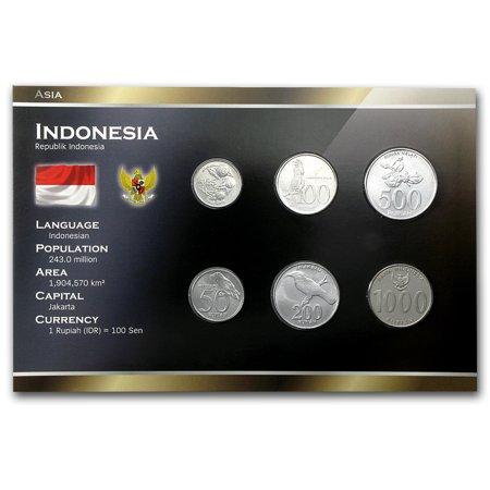 1994-2010 Indonesia 25-1000 Rupiah Coin Set BU