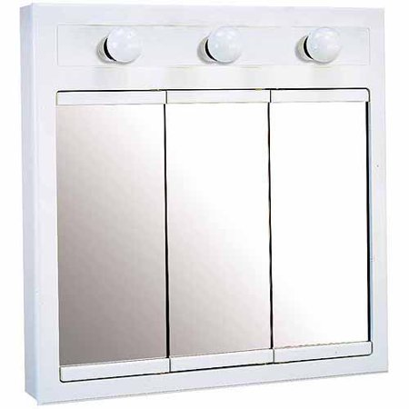 Design House 532374 Concord White Gloss Lighted Medicine Cabinet Mirror With 3 Doors And 2 Shelves