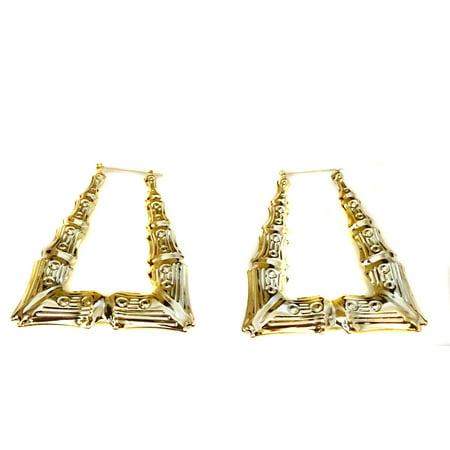 Bamboo Triangle Hoop Earrings Gold Tone 3