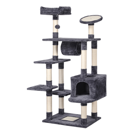 SmileMart 79 in Cat Tree Condo Multilevel Cat Tower 2 Condos, Dark Gray/White ()
