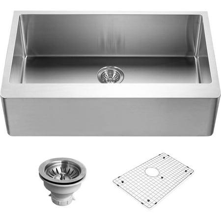 Bowl Gourmet Sink - Houzer ENG-3320 Epicure Series Apron Front Gourmet Single Bowl Kitchen Sink