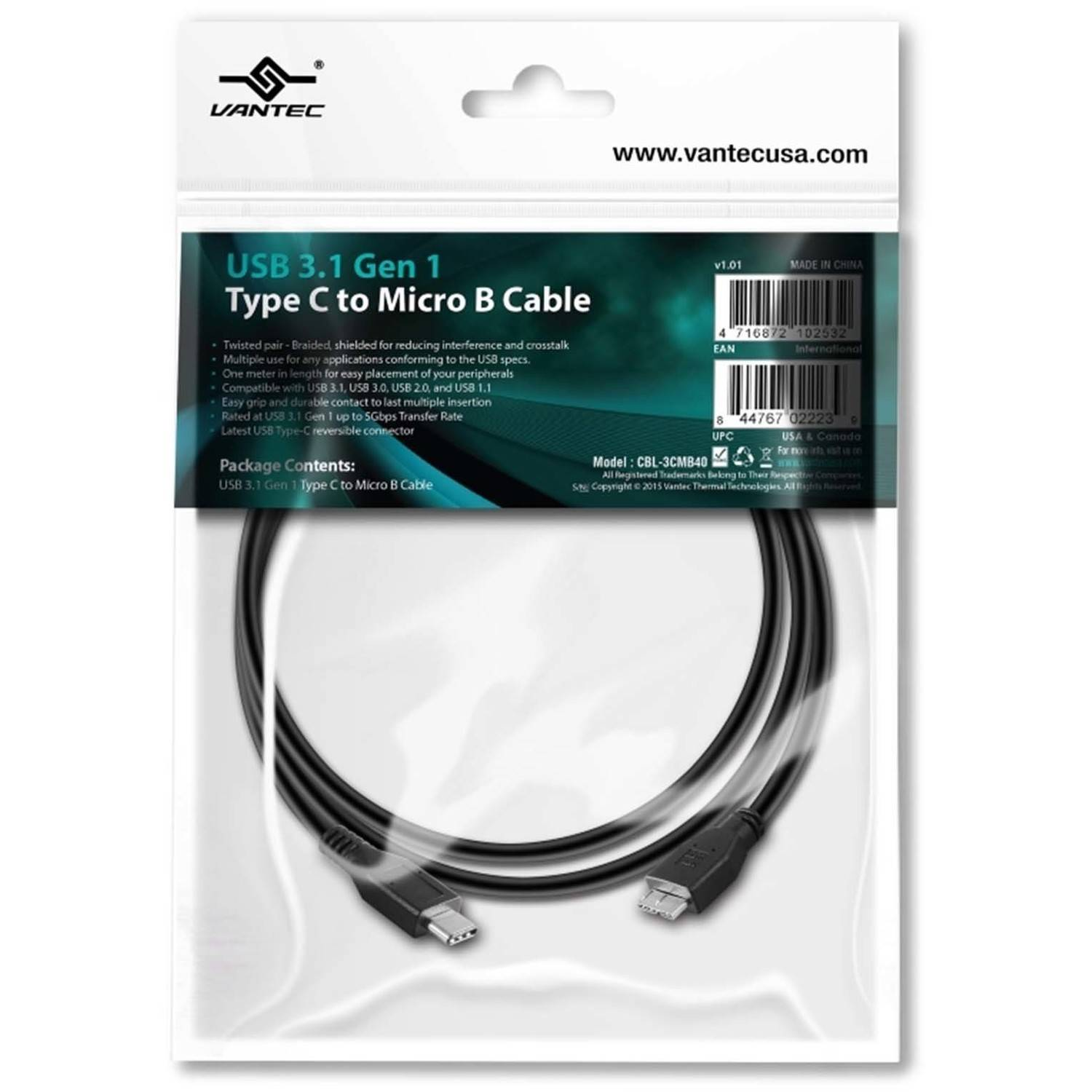 Vantec CBL-3CMB40 USB 3.1 Type C to microUSB-B Cable, Black