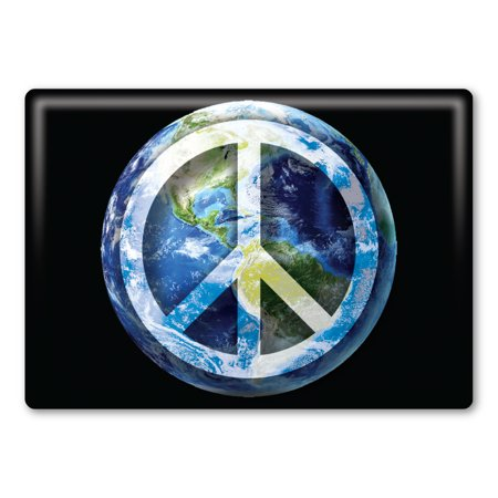 Mouse Rectangle Magnet - Peace Sign On Earth Rectangle Magnet Back Button