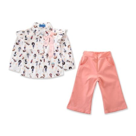 Cute Toddler Kid Baby Girl Chiffon Shirt+Suit Pants Clothe Party Wedding Gown
