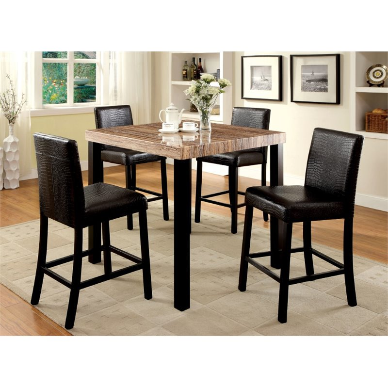 Furniture of America Kenneth Counter Height Pub Table in Black by Furniture of America
