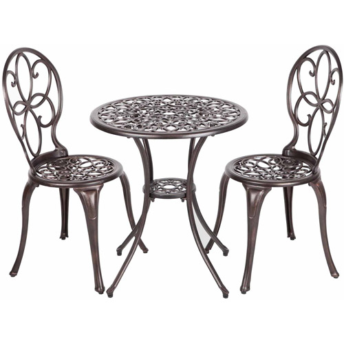 Patio Sense Antique Bronze Cast Aluminum 3-Piece Bistro Set