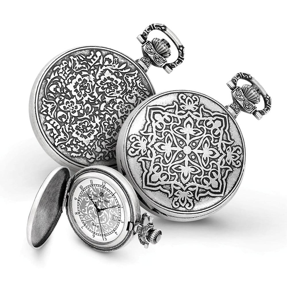 Antiqued Floral Design Pocket Watch