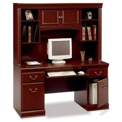 Bush Birmingham Wood Credenza with Hutch in Harvest Cherry