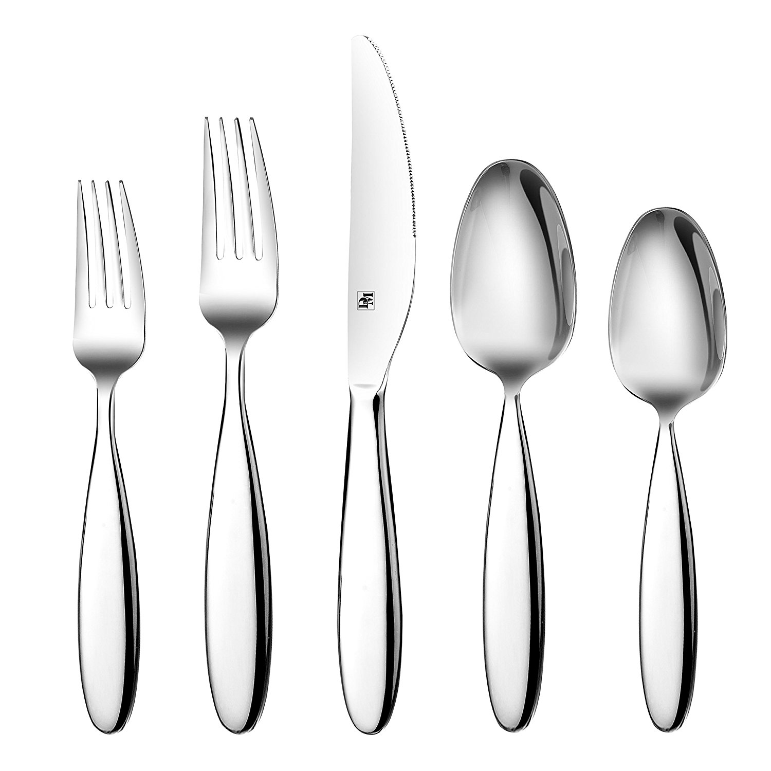 D&M 20-Piece Flatware Set, 18 10 Stainless Steel Mirror Polish Silverware Service for 4 by Neway International Inc