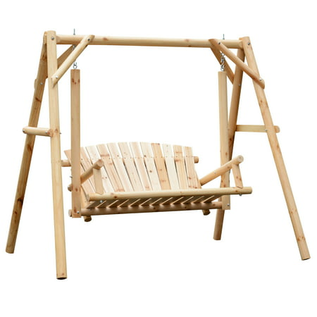 Wooden 2-person Porch Swing Rustic Patio Bench Outdoor Furniture w/Armrest ()