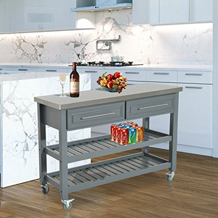 homcom country style kitchen island rustic rolling storage cart on wheels with stainless steel top - Country Style Kitchen Island