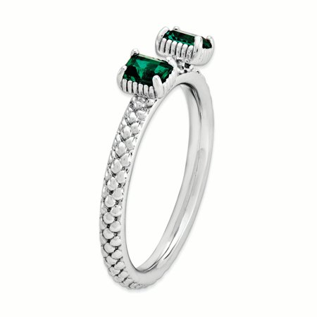 Sterling Silver Stackable Expressions Created Emerald Two Stone Ring Size 9 - image 2 of 3