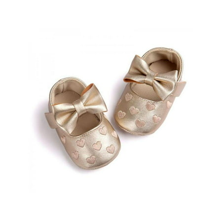 Newborn Baby Girl Soft Crib Shoes Infants Anti-slip Sneaker Prewalker 0-18M (Gold Shoes Toddler)