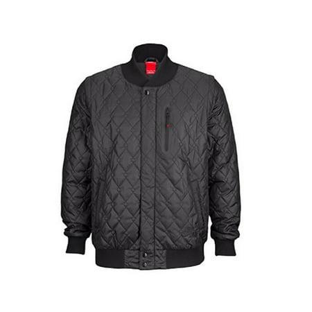 Nike Air Mens Varsity Quilted Jacket Zip Off Sleeves Black Mens Small