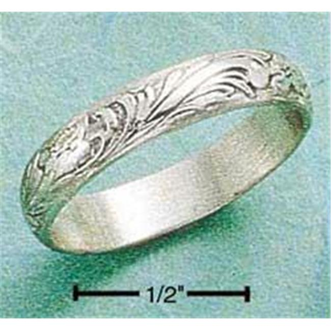 Plum Island Silver SR-0245/10 Sterling Silver 3Mm Antiqued Floral Wedding Band Ring