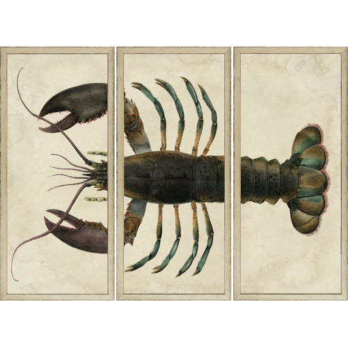 Art Virtuoso Lobster Sectioned 3 Piece Framed Painting Print Set