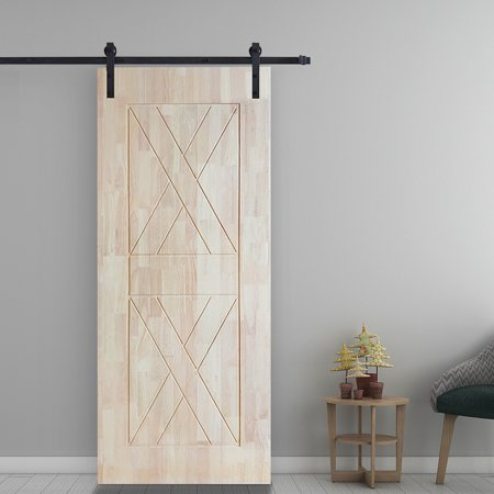 6FT Heavy Duty Sturdy Sliding Barn Wood Door Basic Sliding Track Rail Hardware Kit Antique Style Super Smoothly and Quiety POM Pulley Wheels Hanger Roller Easy to Stall with Installation Manual - image 5 of 6