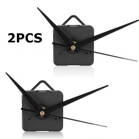 2pcs Silent DIY Quartz Clock Spindle Movement Mechanism Repair Parts Kit Wall Clock Black Hand Simple DIY US (76 Kit Cat Clock)